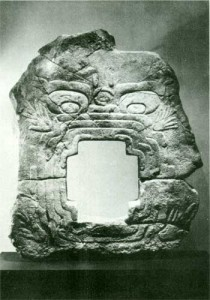 Fig.5 Relief IX, Chalcatzingo. The large mouth of a jaguar which forms the door is thought to be associated with the underworld. After Grieger 1970.