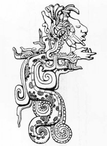 Fig.12 Divine Maya serpent from whose open jaws a human personage with outstretched hand emerges. After Spinden 1957: fig. 93.