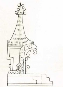 Fig.13 The doorway of this circular temple is represented by the open mouth of a serpent. The teeth and eyes can be seen. Codex Borgia.