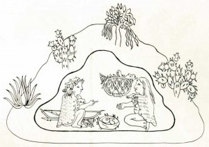 Fig.19 Traditional association of birth and a cave in the pre-Hispanic codices. Quinatzin map. Drawing by A. Piña.