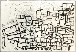 Planta de un sector urbano de alta densidad y vista de un conjunto de viviendas escalonadas en el Pucará de Tilcara, Jujuy.