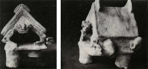 Dos vistas de una maqueta que aúna rasgos arquitectónicos y zoomorfos provenientes de La Tolita (DNPA-5)