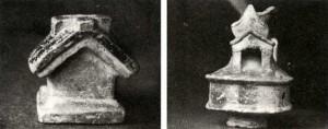 Maquetas - recipientes para líquidos: a la izquierda pertenece a la cultura Chorrera tardía, la inferior a La Tolita (DNPA-16 y DNPA26)