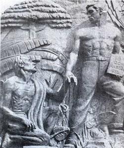 Figura 5. Grupo escultórico alegórico de la nacionalización petrolera: el obrero   manual rescata al indígena oprimido gracias a la Ley del 18 de marzo de 1938.