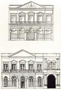 Arriba, el proyecto de Miguel Barabino. Abajo, la Escuela Modelo tal como fue construida en 1860 y el sector ensanchado en 1884.