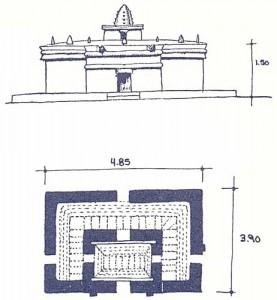 El Caracol edificio 1). Fachada y planta (reconstitución). Modificado de Fernández 1945.