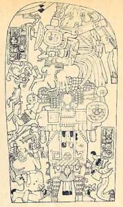 Dibujo de la estela 2 de Machaquila, Guatemala, del alió 671, la cual fue recuperada en 1972, al tiempo que los traficantes pedían por ella 350 mil dólares.